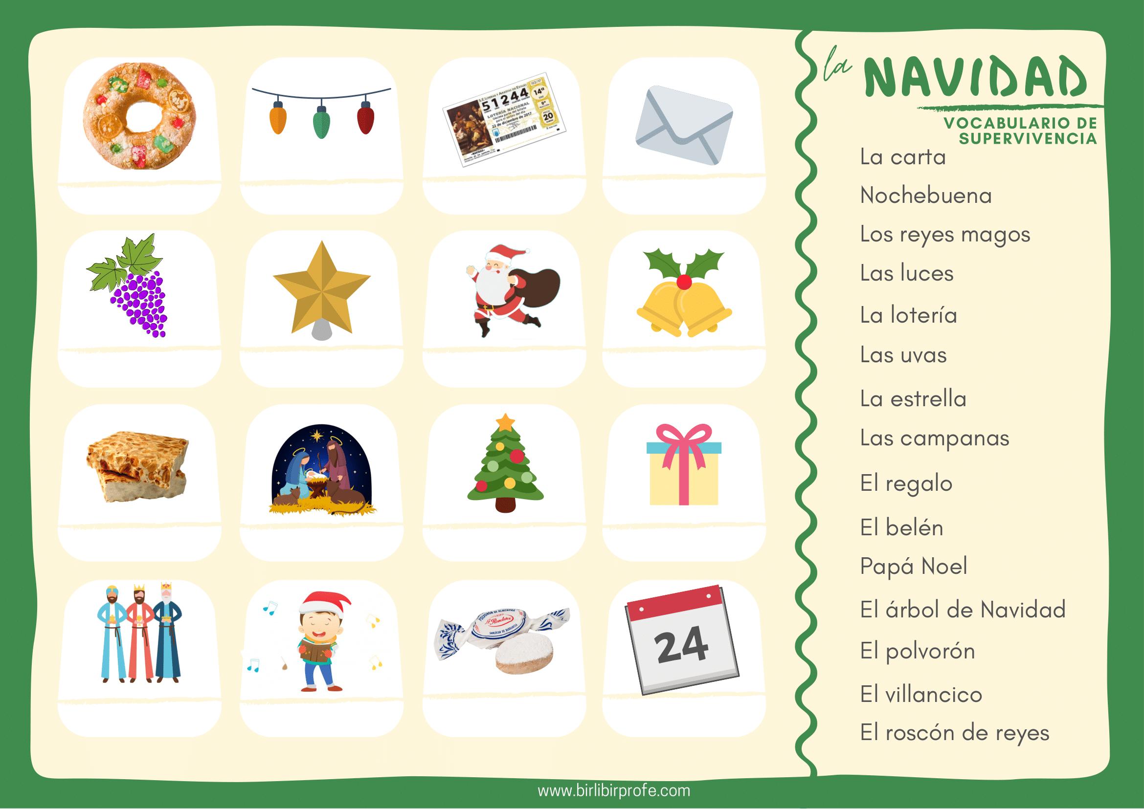 Vocabulario de Navidad español