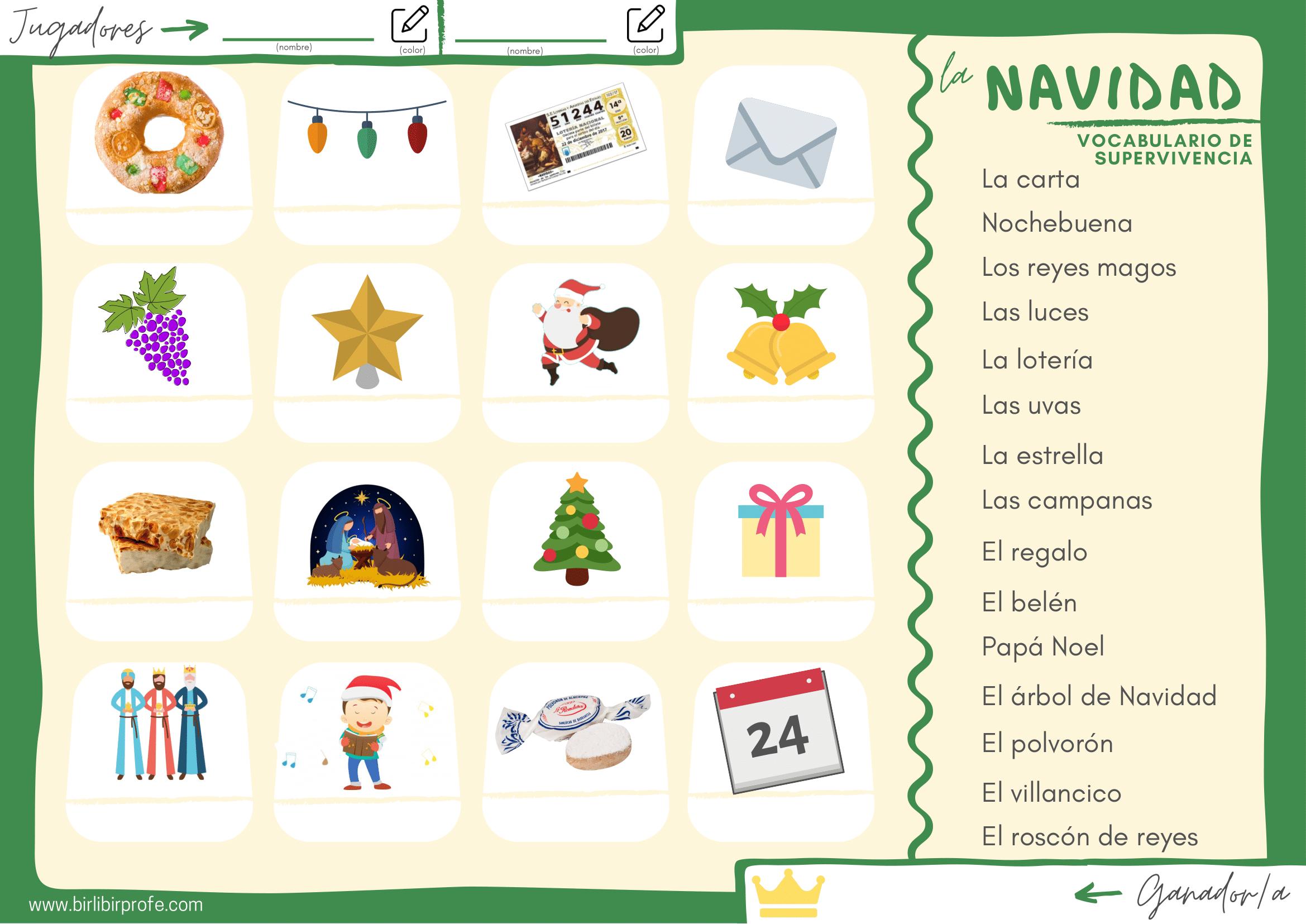 vocabulario Navidad ELE