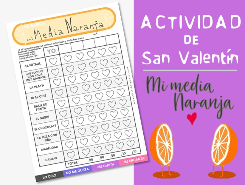 Mi media naranja - actividad para San Valentín